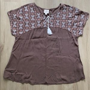 ST JOHN'S BAY BROWN DRESS TOP SZ PM